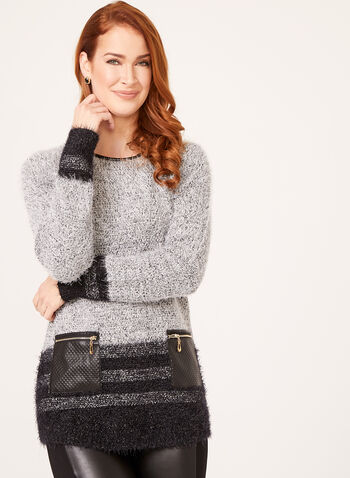 Faux Leather Trim Metallic Knit Sweater, Black, hi-res