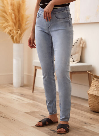 Charlie B - Jean à enfiler à effet délavé, Bleu,  jean, taille mi-haute, à enfiler, jambe droite, braguette décorative, poches, denim extensible, printemps été 2021