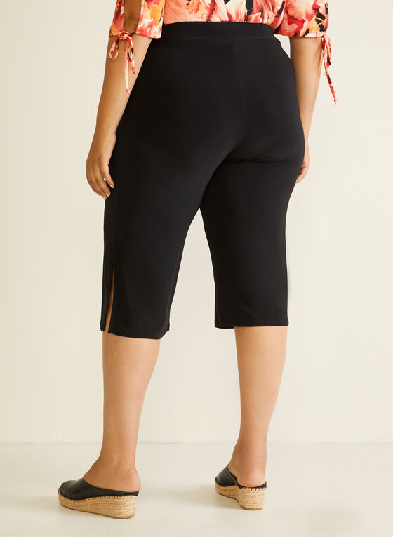 Wide Leg Side Slit Capris, Black