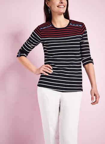 T-shirt coton manches 3/4 à rayures, Bleu, hi-res