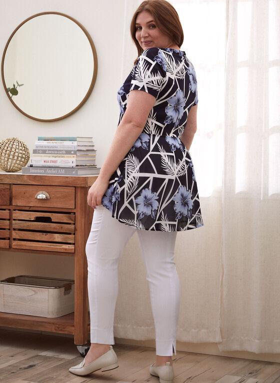 Floral Print Chiffon Back Tunic, Black
