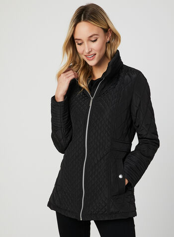Quilted Stand Collar Coat, Black, hi-res