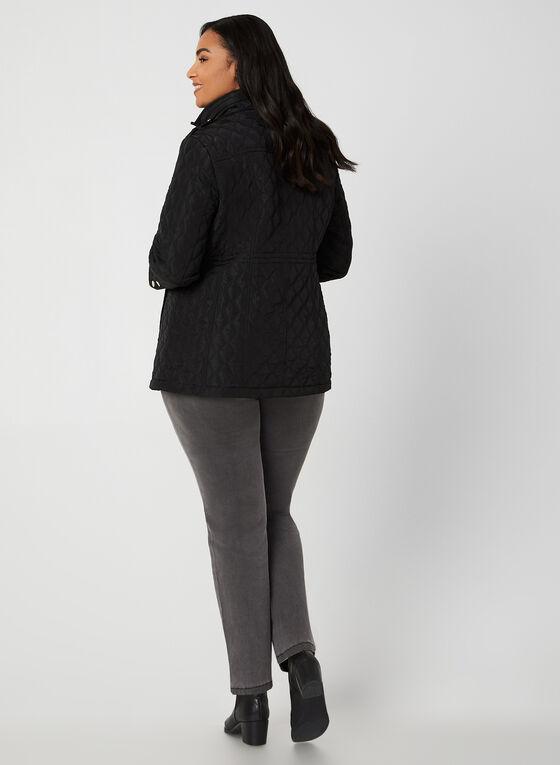 Manteau matelassé à capuchon, Noir