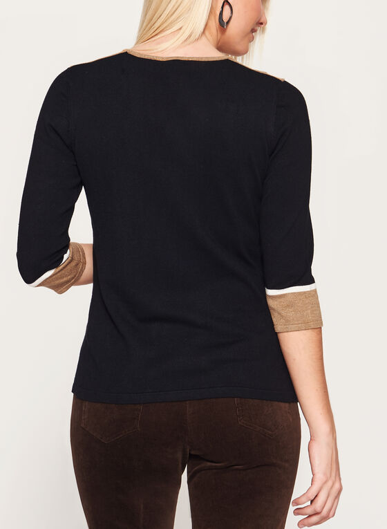 ¾ Sleeve Scoop Neck Sweater, Brown, hi-res
