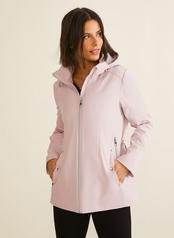 Removable Hood Raincoat, Pink,  spring summer 2020, raincoat, hood, stand collar