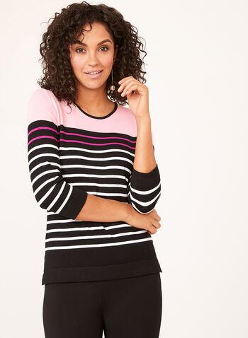 Pull rayé en tricot à manches ¾, Multi, hi-res