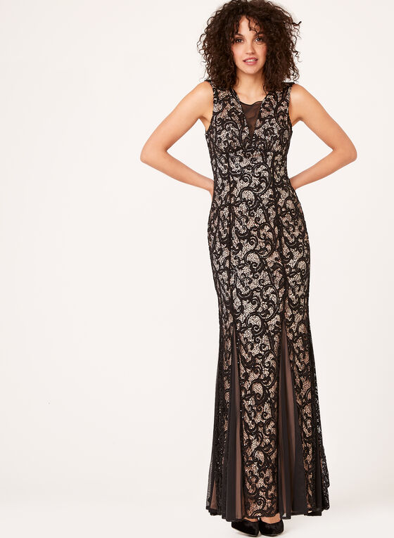 Lace Mermaid Dress, Black, hi-res