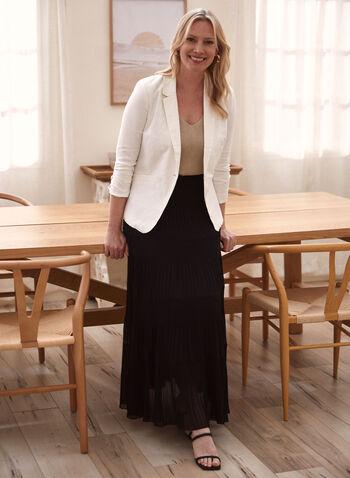 One-Button Linen Jacket, White,  spring summer 2021, blazer, tops, suit jacket, one button, gathered,