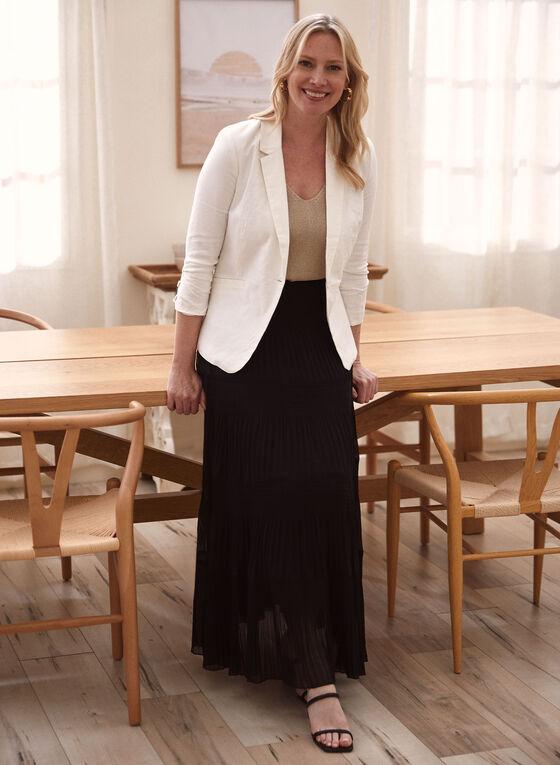 One-Button Linen Jacket, White
