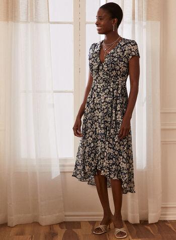 Floral Print Dress, Blue,  dress, floral, v-neck, short sleeves, chiffon, belt, spring summer 2021