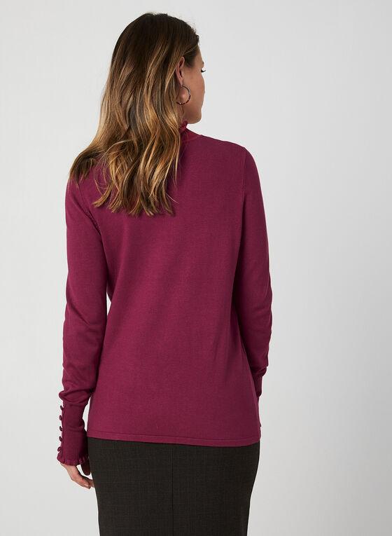 Pull en tricot à détails volantés, Violet