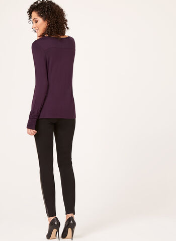 Ruched Cuff Long Sleeve Top, Purple, hi-res
