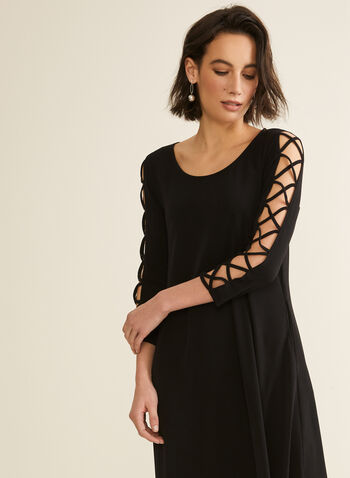 Nina Leonard - 3/4 Sleeve A-Line Dress, Black,  spring summer 2020, jersey, 3/4 sleeves, A-line