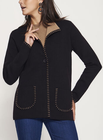 Double Knit Cardigan , Black, hi-res