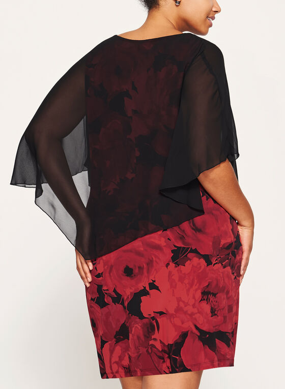 Floral Print Poncho Dress, Red, hi-res