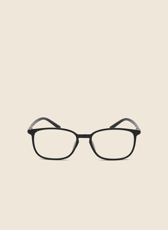 Rectangle Plastic Reading Glasses, Black