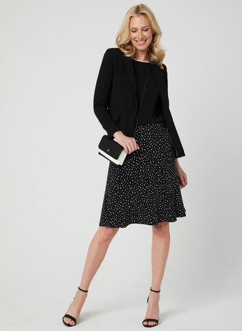 Jupe pull-on à motif pois, Noir, hi-res,  jupe, midi, pois, jersey, pull-on, printemps 2019