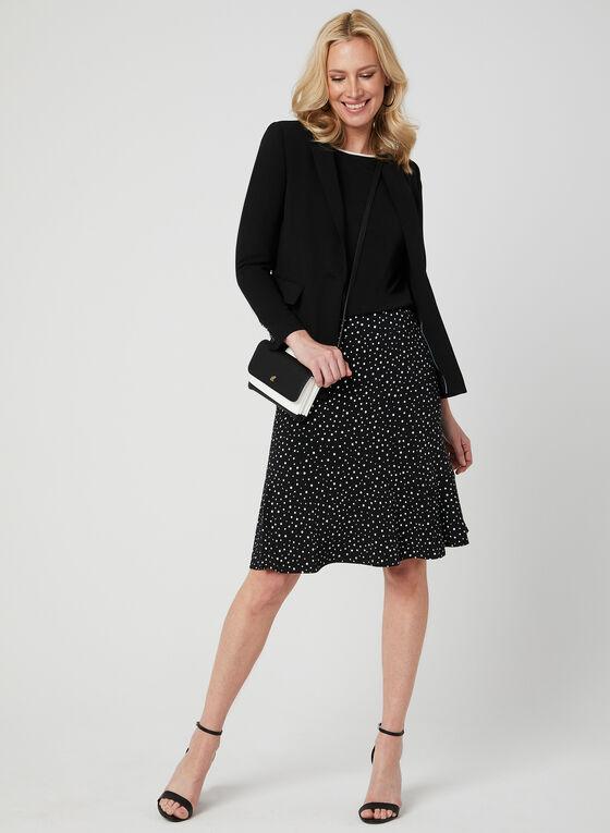 Polka-Dot Print Skirt, Black, hi-res