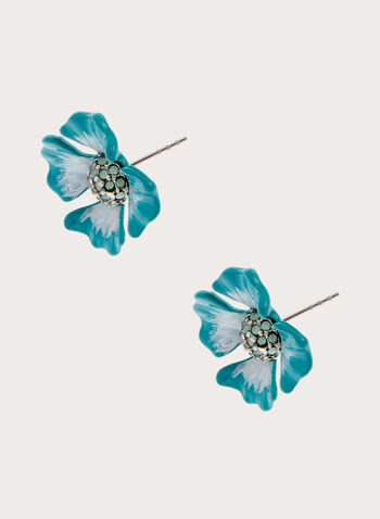 Flower Detail Stud Earrings, Blue, hi-res