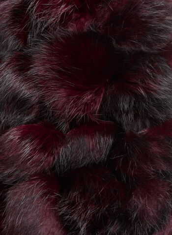 Rabbit Fur PomPom Scar, Red, hi-res