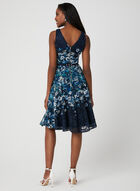 Belted Floral Lace Dress, Blue, hi-res
