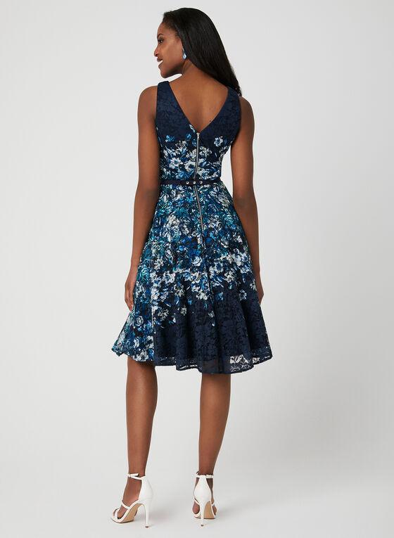 Belted Floral Lace Dress, Blue, hi-res