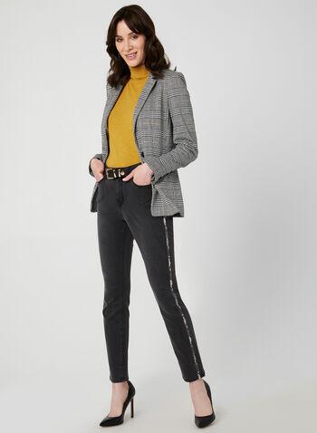 Jeans à jambe droite et détails serpent, Gris,  jeans, jambe droite, moderne, bandes latérales, serpent, coton, poches, automne hiver 2019