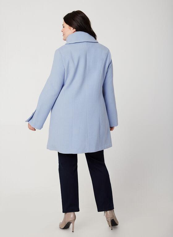 Manteau aspect laine à manches évasées, Bleu