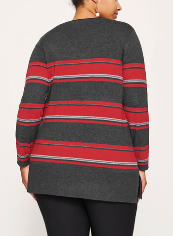 Stripe Print Scoop Neck Sweater, Grey, hi-res