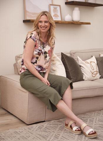 Floral Print Elastic Hem Top, Pink,  made in Canada, spring summer 2021, drop shoulder, boat neck, scoop neck, floral print, blouson, top, blouse, cap sleeve, short sleeve, elastic hem