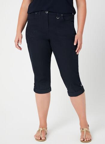 Capri cargo à coupe moderne, Bleu,  jambe droite, broderie, printemps 2019