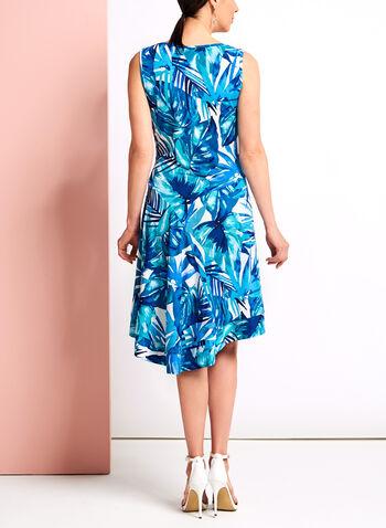 Robe midi asymétrique à motif tropical, Bleu, hi-res