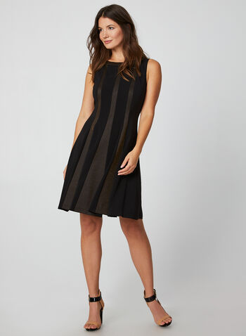 Fit & Flare Sleeveless Dress , Black, hi-res,  dress, cocktail, sleeveless, metallic paneling, crepe, comfortable material, fall 2019, winter 2019