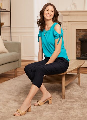 Tie Sleeve Top, Blue,  spring summer 2021, tops, tees, t shirts, t shirts, boat neck, round neck, crew neck, open shoulders,