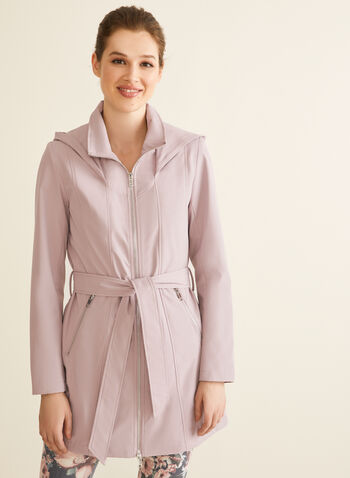Novelti - Manteau à capuchon et ceinture, Rose,  manteau, demi-saison, double zip, ceinture, capuchon, poches, printemps été 2020