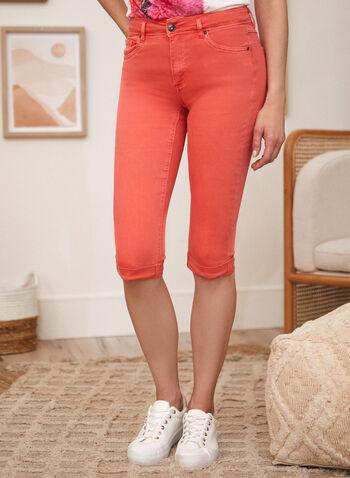 Charlie B - Cuffed Capri Pants, Orange,  spring summer 2021, bottoms, capris, zipper, slim fit, rolled cuffs,