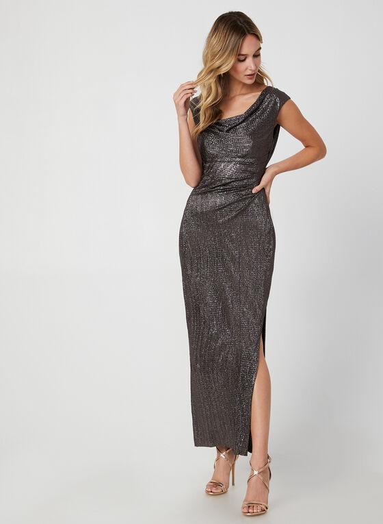 Metallic Cowl Neck Dress, Brown