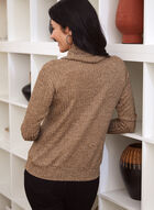 Cowl Neck Rib Knit Top, Brown