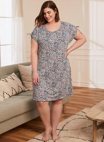 Floral Print Tie Detail Nightshirt, Blue,  pyjamas, nightgown, nightshirt, floral, short sleeves, spring summer 2021