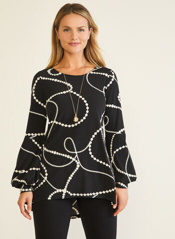 Pearl Print Balloon Sleeve Tunic, Black,  top, tunic, pearl print, balloon sleeves, fall winter 2020