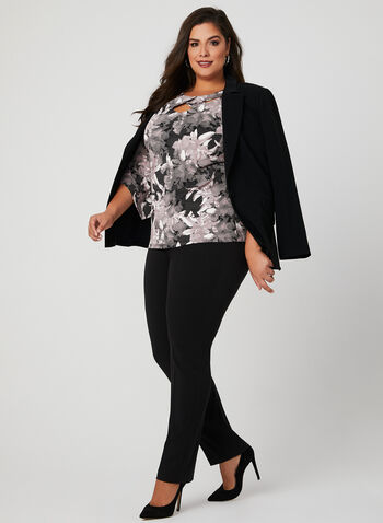 Floral Print Angel Sleeve Blouse, Black, hi-res