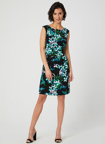 Floral Print Jersey Dress, Black, hi-res,  day dress, jersey, sleeveless, floral print, spring 2019, summer 2019