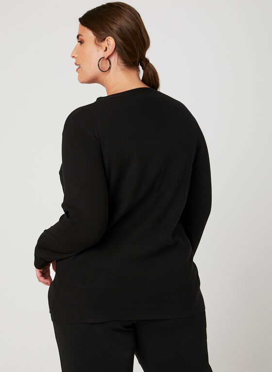 Elena Wang - Pull en tricot et détail anneau, Noir, hi-res