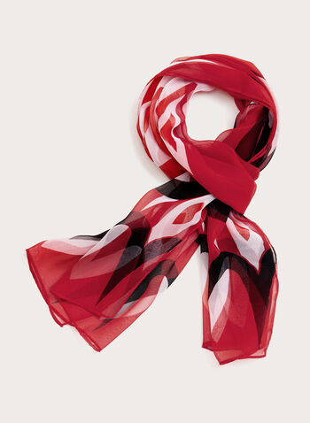 Abstract Geometric Print Scarf, Red, hi-res