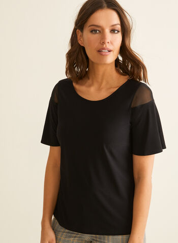 Short Sleeve Mesh Detail Top, Black,  top, blouse, jersey, short sleeves, mesh, ruffled, spring summer 2020