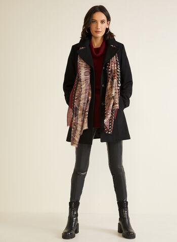 Manteau structuré en molleton, Noir,  automne hiver 2020, manteau, manteau d'hiver, molleton, laine, col cranté, poches, boutons