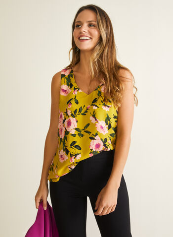 Floral Print Sleeveless Blouse, Green,  blouse, floral print, sleeveless, v-neck, spring summer 2020
