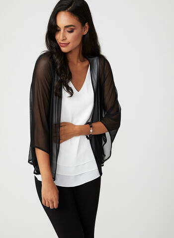 Open Front Mesh Top, Black, hi-res