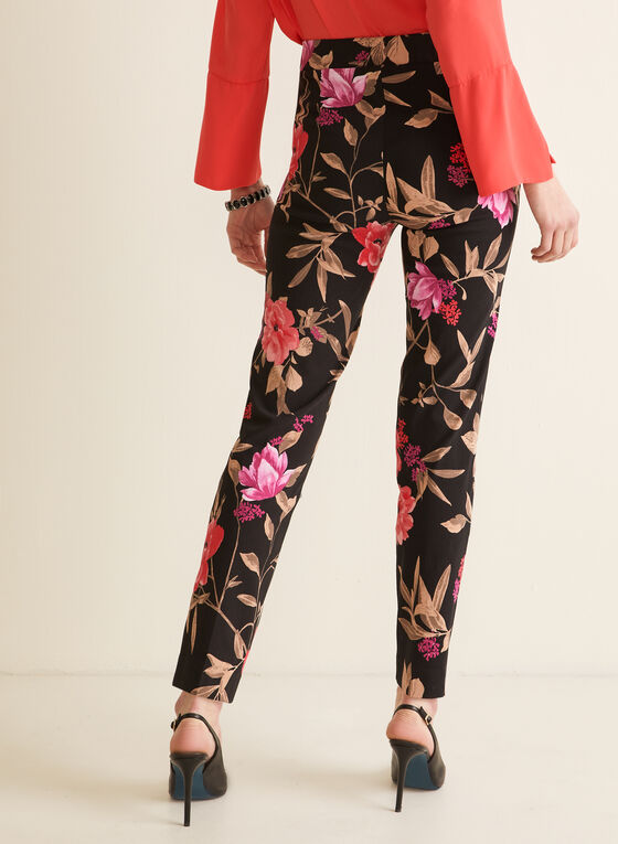 Floral Print City Fit Pants, Black