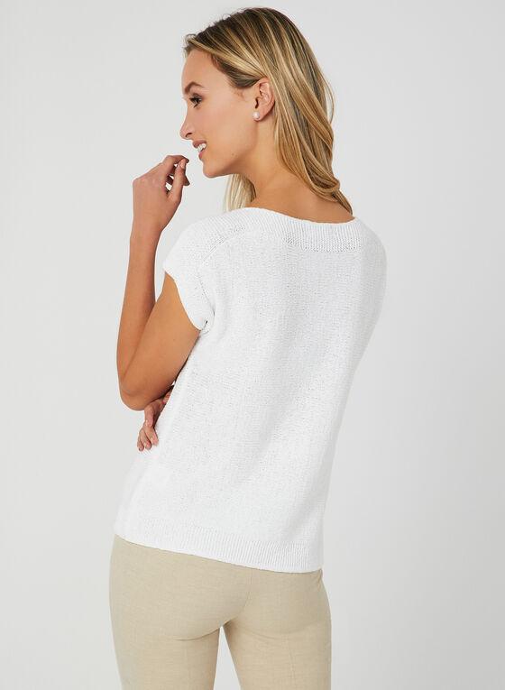 Haut en tricot à manches cape, Blanc